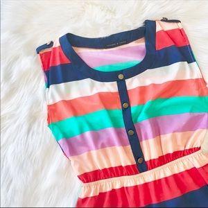 Peaches N Cream Striped Sleeveless Dress Sz S